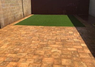after artistic pavers and artificial turf