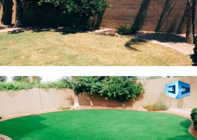 before after artifical turf