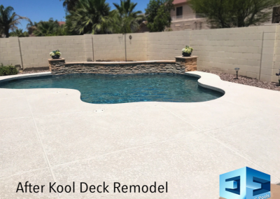 After Kool Deck Remodel  Includes full grind and full acrylic base coat with texture added.