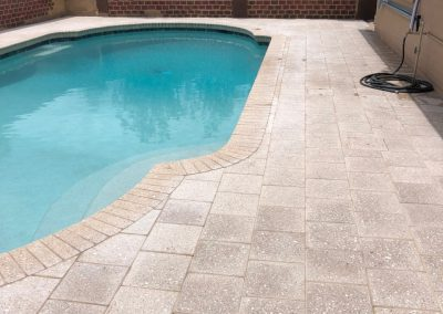 With full artistic paver flat decking over existing concrete