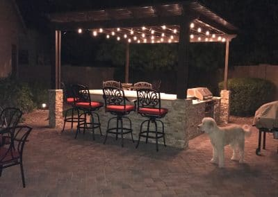 Full Aluma Wood Pergalla with Full BBQ Full Lighting Full Misting