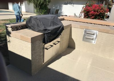 Outdoor kitchen with drawers and storage