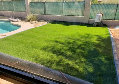 after artifical turf and boarder pavers