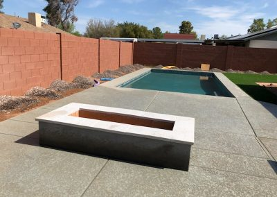 after firepit with artistic paver cap