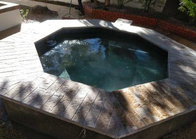 After spa complete chip and mini pebble with awesome artistic paver bullnose