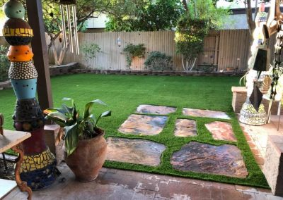 artifical turf and stone slabs