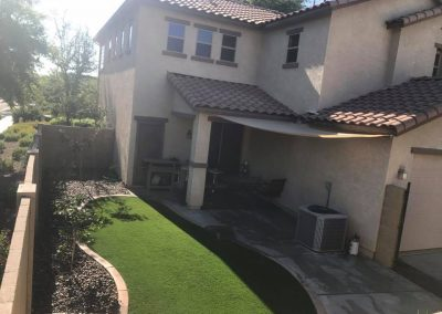 artifical turf with stone boarder